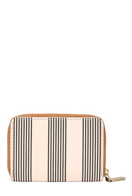 Fossil RFID Off-White & Black Striped Leather Wallet
