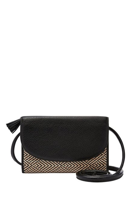 Fossil Black & Cream Interlaced Leather Tri-Fold Wallet