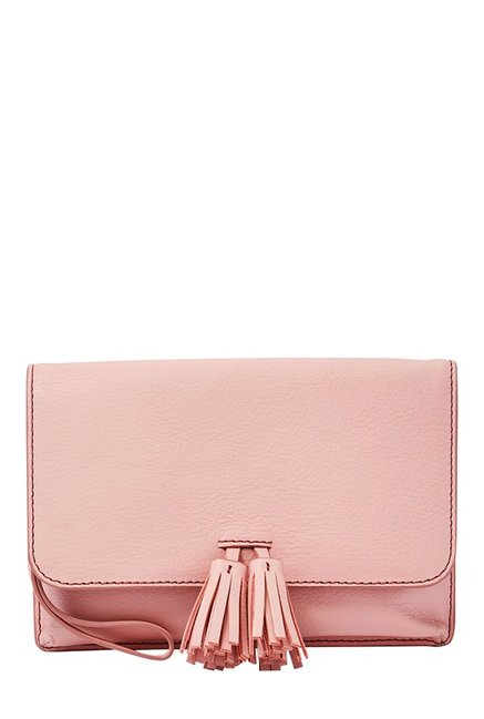 Fossil Amelia Powder Pink Tassel Leather Flap Wallet