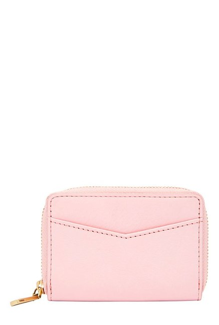 Fossil RFID Powder Pink Solid Leather Wallet