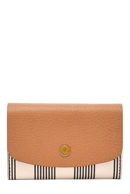 Fossil Haven Tan & Off-White Striped Leather Flap Wallet