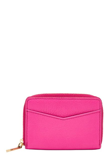 Fossil RFID Hot Pink Solid Leather Wallet