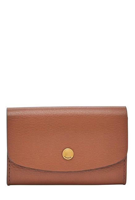 Fossil Haven Brown Solid Leather Flap Wallet