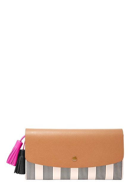 Fossil Tan & Off-White Striped Leather Flap Wallet