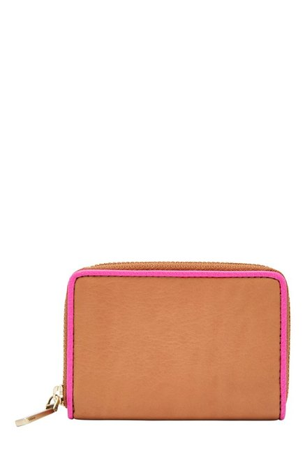 Fossil RFID Tan Solid Leather Wallet