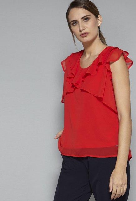 Buy Wardrobe by Westside Red Rex Blouse for Women
