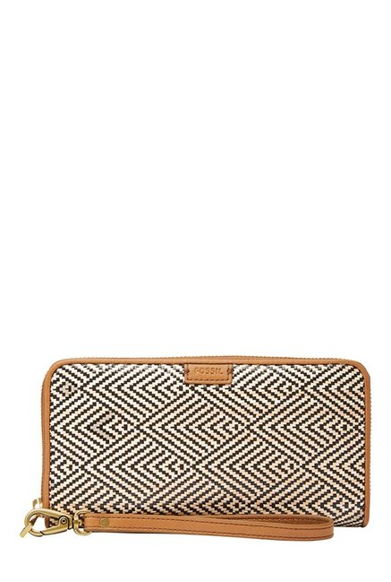 Fossil Cream & Black Interlaced Leather Wallet