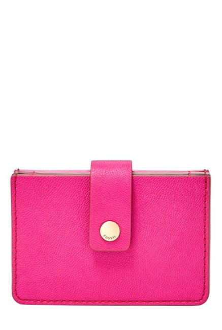 Fossil Hot Pink Solid Leather Wallet