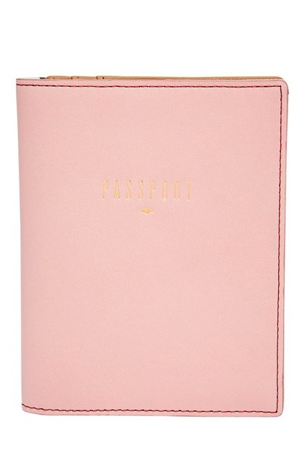 Fossil RFID Powder Pink Solid Leather Passport Case