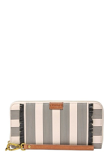 Fossil Emma RFID Off-White & Black Striped Leather Wallet