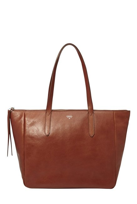 Fossil Brown Solid Leather Tote