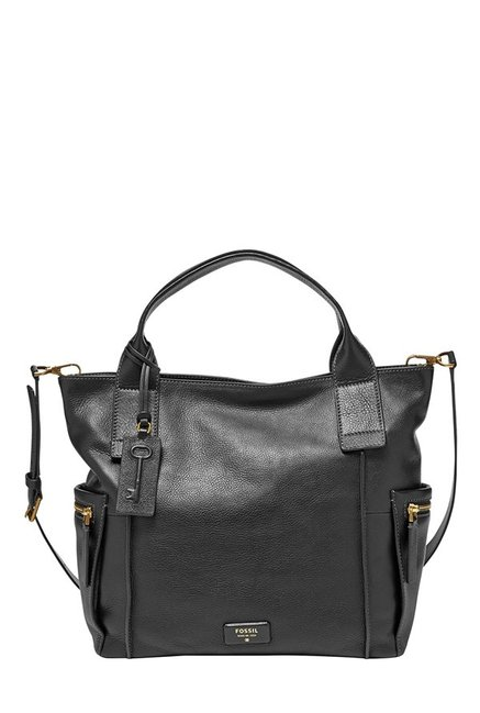 Fossil Black Solid Leather Shoulder Bag
