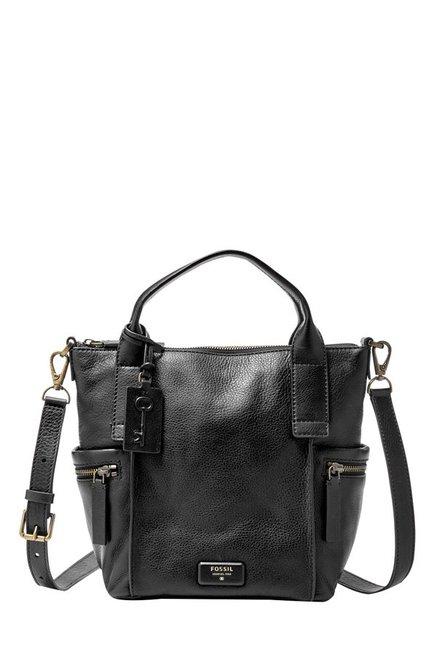 Fossil Emerson Black Solid Leather Shoulder Bag