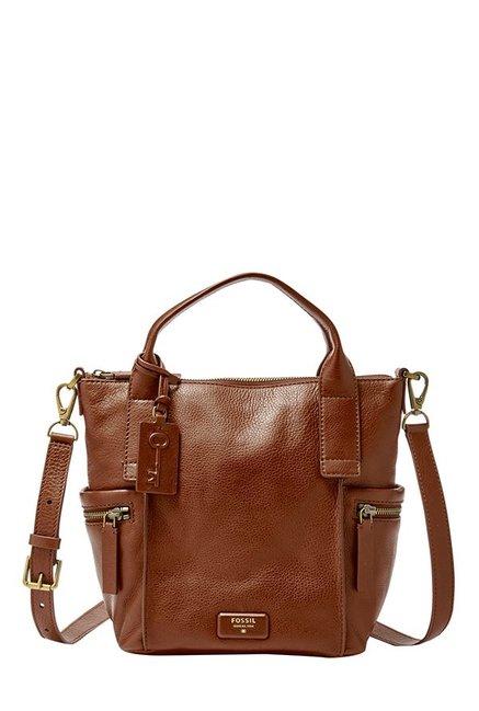 Fossil Emerson Brown Solid Leather Shoulder Bag