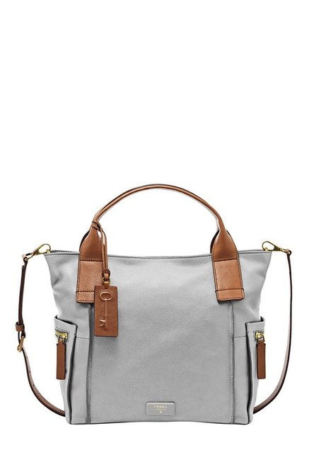 Fossil Grey Solid Leather Shoulder Bag