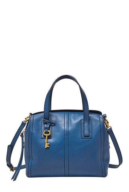 Fossil Emma Marine Blue Leather Bowler Handbag