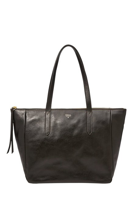 Fossil Black Solid Leather Tote