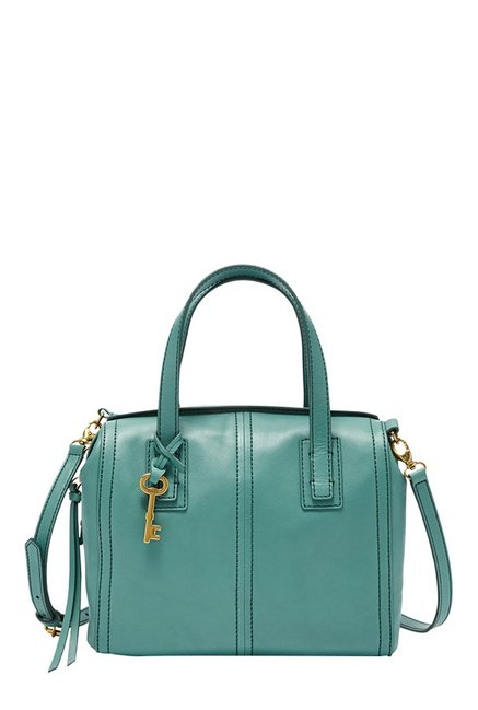 Fossil Emma Teal Green Leather Bowler Handbag