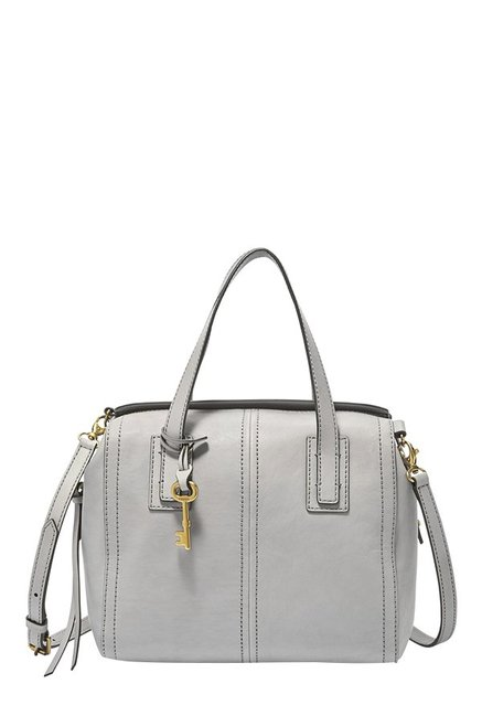 Fossil Emma Grey Leather Bowler Handbag