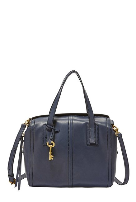 Fossil Emma Navy Leather Bowler Handbag