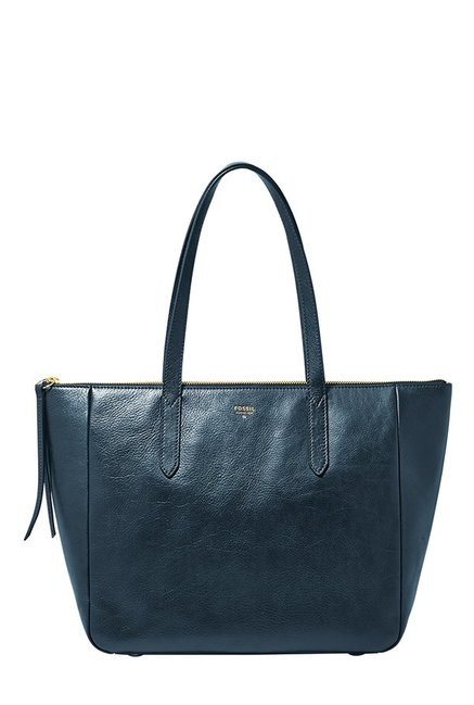 Fossil Navy Solid Leather Tote