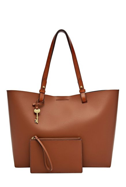 Fossil Rachel Brown Solid Leather Laptop Tote with Pouch