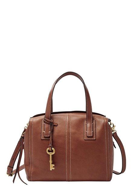 Fossil Emma Brown Leather Bowler Handbag