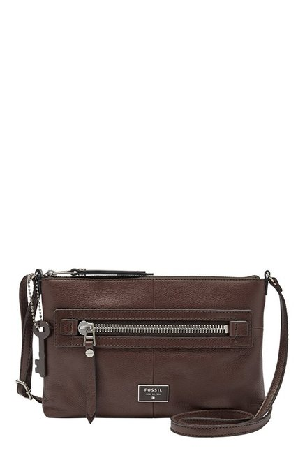 Fossil Dawson Dark Brown Leather Sling Bag