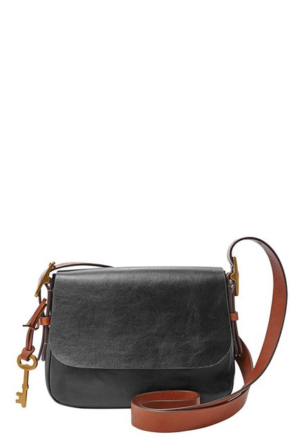 Fossil Harper Black Leather Flap Sling Bag