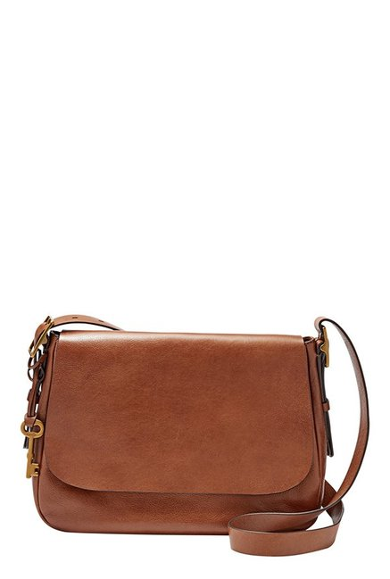 Fossil Harper Brown Leather Flap Sling Bag