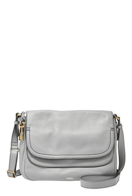 Fossil Peyton Iron Grey Leather Flap Sling Bag