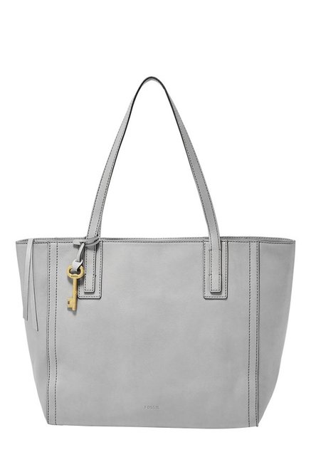 Fossil Emma Grey Solid Leather Tote
