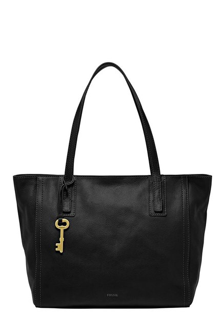 Fossil Emma Black Solid Leather Tote