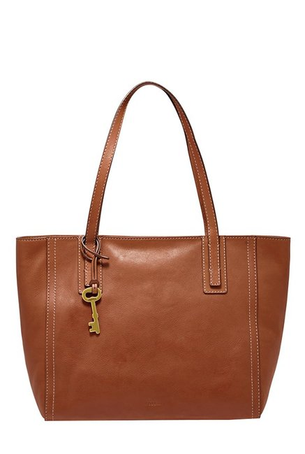 Fossil Emma Brown Solid Leather Tote