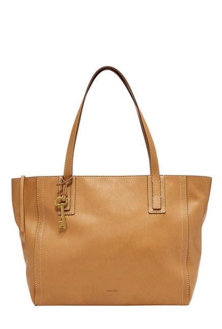 Fossil Emma Tan Solid Leather Tote