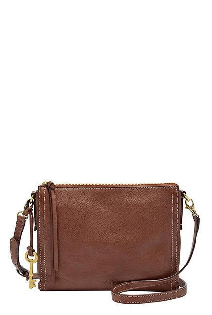 Fossil Emma EW Brown Leather Sling Bag
