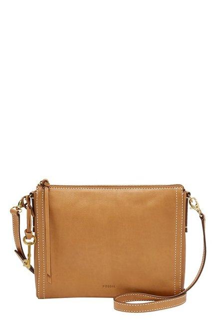 Fossil Emma EW Tan Leather Sling Bag