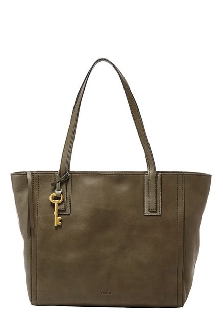 Fossil Emma Canteen Brown Solid Leather Tote