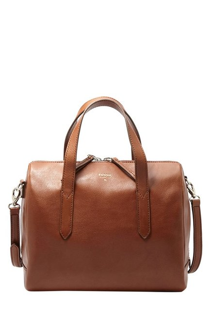Fossil Brown Leather Bowler Handbag