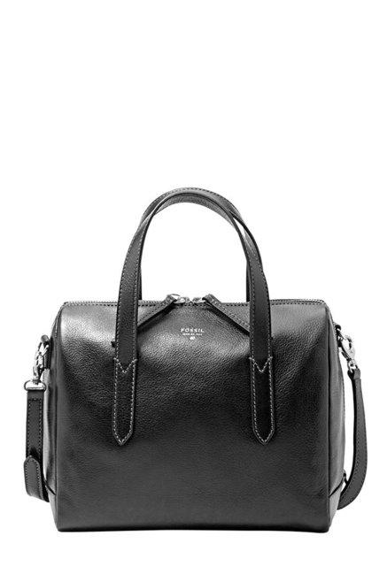 Fossil Sydney Black Leather Bowler Handbag