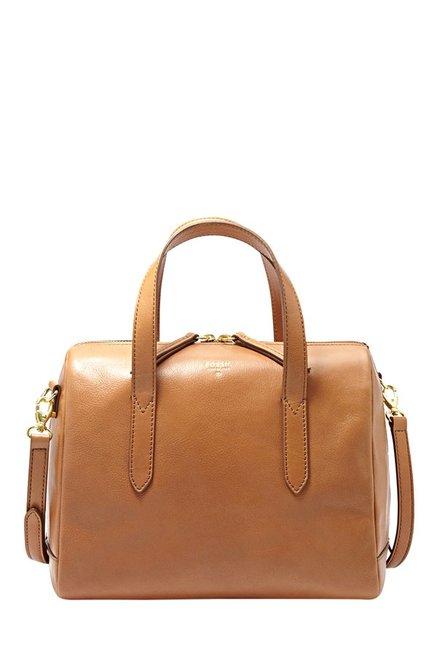 Fossil Camel Brown Leather Bowler Handbag