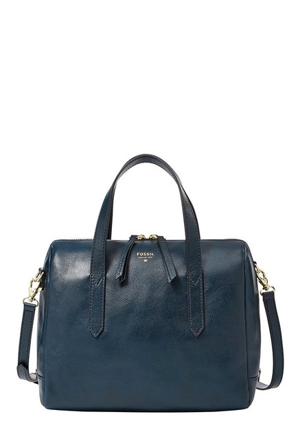 Fossil Navy Leather Bowler Handbag