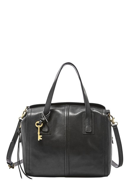 Fossil Emma Black Leather Bowler Handbag