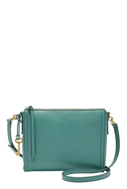 Fossil Emma EW Teal Green Leather Sling Bag