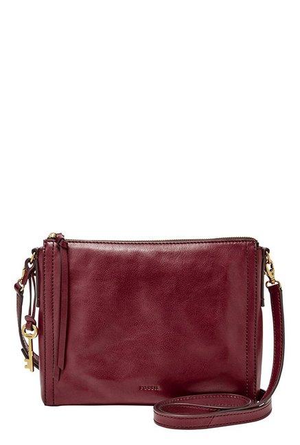 Fossil Emma EW Wine Leather Sling Bag