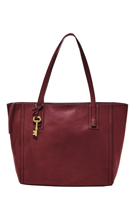 Fossil Emma Wine Solid Leather Tote