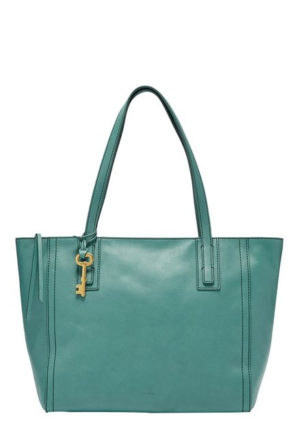 Fossil Emma Teal Green Solid Leather Tote