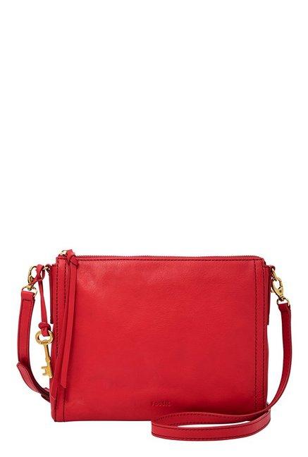 Fossil Emma EW Crimson Red Leather Sling Bag