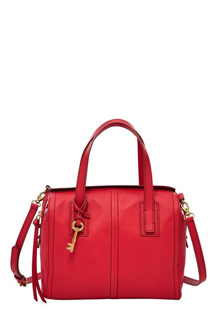Fossil Emma Crimson Red Leather Bowler Handbag