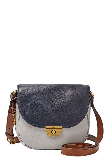 Fossil Emi Grey & Navy Leather Flap Sling Bag